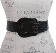 Ladies Croco Print Western Buckle Patent Leather Wide Fashion Belt