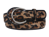 "1 1/2"" Wide Ladies Patent Leather faux Leopard Print Animal Fur Fashion Belt"