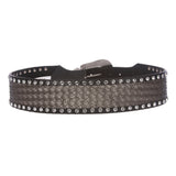"2 3/4"" Wide Western Braided Woven Rhinestone Tapered Contour Leather Belt"