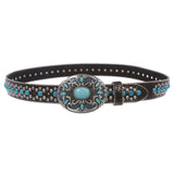 Western Turquoise Rhinestone Studded Faux Crocodile Print Genuine Leather Belt