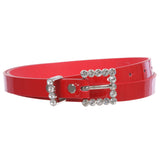 Women's Rhinestone Skinny Patent Non Leather Dress Belt