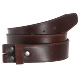 "1 1/2"" (40mm) Snap On Stitching-Edged Leather Belt Strap"
