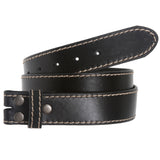 "1 1/2"" (38 mm) Snap On Stitching-Edged Genuine Leather Belt Strap"