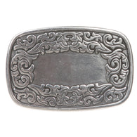 Western Flower Engraving Oval Silver Belt Buckle