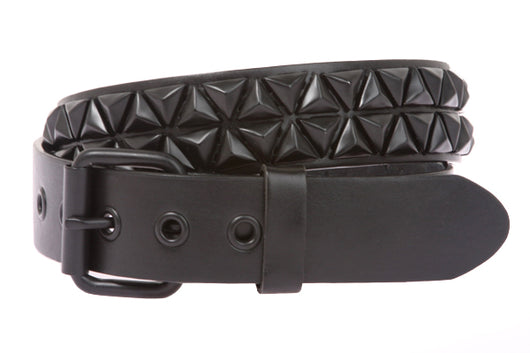 Snap On Punk Rock Star Triangle Black Studded Leather Belt