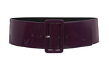 Ladies High Waist Patent Leather Wide Fashion Square Belt