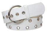 "1 7/8"" (48mm) Silver Circle Double Grommets Patent Leather Fashion Belt"