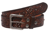 "1 1/2"" Snap On Embossed Vintage Cowhide Full Grain Leather Floral Rivet Perforated Casual Belt"