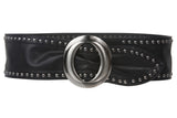 "3 1/4"" Wide High Waist Studded Fashion Oval Sash Belt"