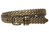 "Ladies 7/8"" Skinny Scalloped Edge Studded Belt"