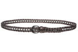 "Ladies 3/4"" (19mm) Skinny Braided Woven Belt with Metal Chain Detail"