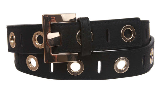 Womens Grommets Tone-on-tone Stitching Leather Belt