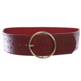 "2 3/8"" (60 mm) Wide Ostrich Print High Waist Fashion Stretch belt"