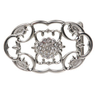Perforated Oval Rhinestone Flower Belt Buckle