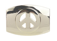 Plain Oval Peace Sign Belt Buckle