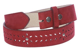 "1 1/2"" (38 mm) Snap on Suede Perforated Studded Leather Belt Strap"