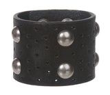 Antique Silver Circle Studded Oil Tanned Genuine Leather Wrist Band