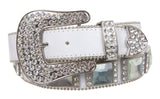 Western Square Rhinestone Ornaments Top Grain Genuine Leather Belt