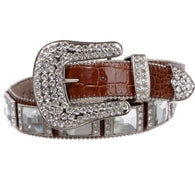Western Cowgirl Alligator Rhinestone Croco Print Leather Belt