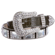 Western Cowgirl Alligator Rhinestone Concho Croco Print Leather Belt