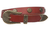 "1"" (24mm) Western Skinny Round Circle Studded Solid Leather Belt"