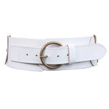 "Ladies 3"" (75 mm) Wide High Waist Round Disk Linked Braided Cowhide Top Full Grain Leather Belt"