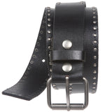 "1 1/2"" (38 mm) Snap On Double Row Circle Rivet Studded Square Leather Belt"