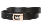 "Men's 1 1/8"" Black Cut-To-Fit One-Size-Fits-All Feather Edged Plain Leather Dress Belt"