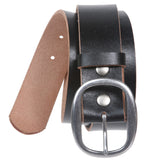 "1 1/2"" (38 mm) Snap on Oval Plain Solid Leather Belt"