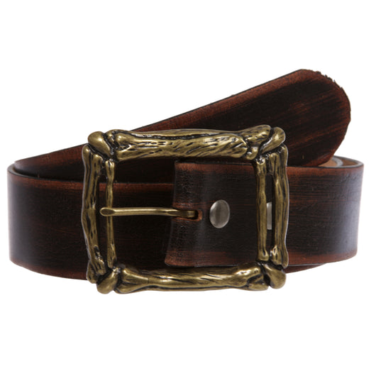 Western Vintage Retro Distressed Solid Leather Belt with Curved Bone Buckle