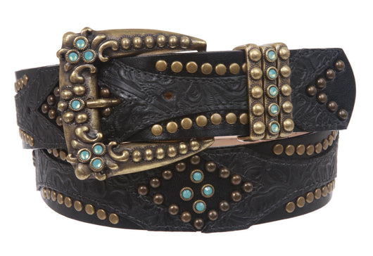 LEATHEROCK Rhinestone Studded Leather Belt