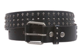 "1 1/2"" Snap On Riveted Chritian Religious Cross and Circle Studded Leather Belt"