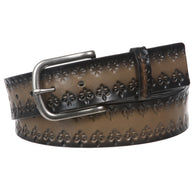 Snap On Oil Fleur De Lis Embossed Genuine Bonded Leather Belt