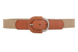 Semi-covered Elastic Raffia Woven Genuine Leather Stretch Belt