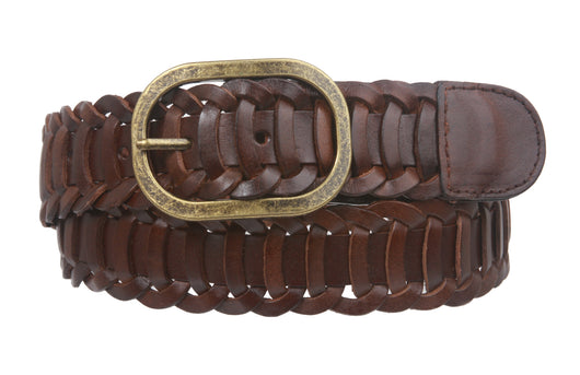 Unisex Oil Tanned Braided Genuine Leather Link Belt