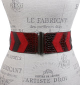 Womens 2 1/2 High Waist Croco and Faux Suede Stretch Belt