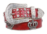 Snap On Rhinestone Crown Silver Circle Studded Genuine Leather Belt