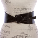 "Women's 3 1/4"" Wide Patent High Waist Elastic Croco Print Tapered Stretch Belt"