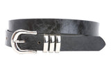 "1"" Triple Loop Faux Leather Skinny Belt"