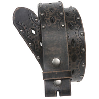 Big Tall Oversized Snap on Perforated Studded Vintage Embossed Bonded Leather Belt Strap