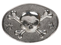 Western Oval Skull & Cross Bone Belt Buckle