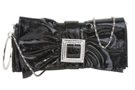 Rhinestone Buckled Metal Circle Let Ruffled Bow Design Patent Evening Bag