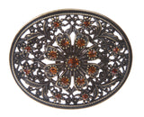Perforated Oval Topaz Rhinestone Flower Belt Buckle
