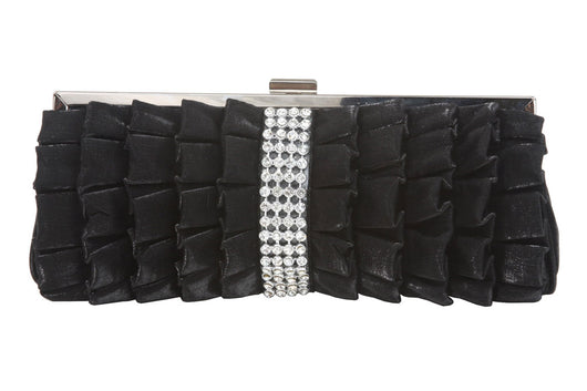 Rhinestone Band Trimmed Gathered Ribbon Evening Clutch