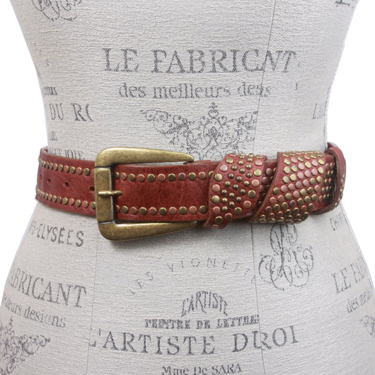 Leatherock Jean Leather Belt with Studded Loop Detail