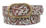 1 1/2 Inch Floral Engraving Leather Belt with oval buckle