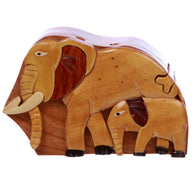 Handcrafted Wooden Animal Shape Secret Jewelry Puzzle Box - Elephants