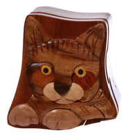 Cat Lover Handcrafted Wooden Animal Shape Secret Jewelry Puzzle Box - Cat