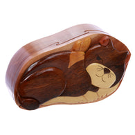 Cat Lover Handcrafted Wooden Secret Jewelry Puzzle Box - Cat