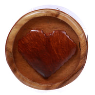 Handcrafted Wooden Round Heart/Love Shape Secret Jewelry Puzzle Box - Heart